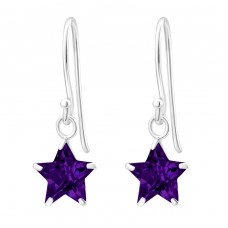 Star - 925 Sterling Silver Earrings with Zirconia stones A4S23318