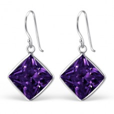 Square - 925 Sterling Silver Earrings with Zirconia stones A4S23459