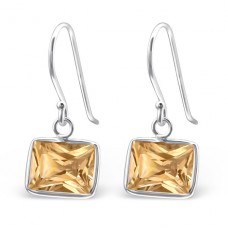 Baguette - 925 Sterling Silver Earrings with Zirconia stones A4S23460