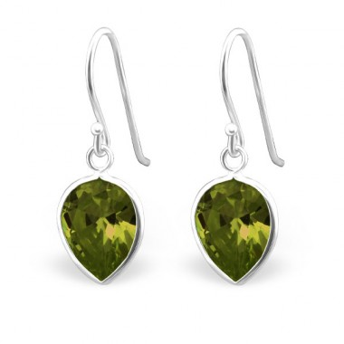 Leaf - 925 Sterling Silver Earrings with Zirconia stones A4S23936