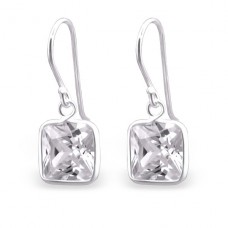Square - 925 Sterling Silver Earrings with Zirconia stones A4S23938
