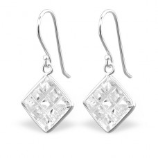 Square - 925 Sterling Silver Earrings with Zirconia stones A4S23939
