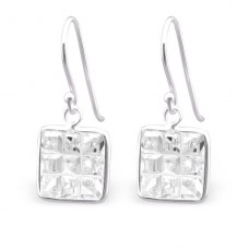 Square - 925 Sterling Silver Earrings with Zirconia stones A4S23940