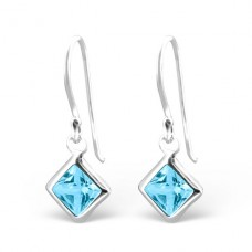 Square - 925 Sterling Silver Earrings with Zirconia stones A4S23941