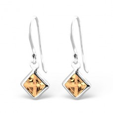 Square - 925 Sterling Silver Earrings with Zirconia stones A4S23942