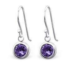 Round - 925 Sterling Silver Earrings with Zirconia stones A4S24238
