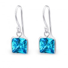 Square - 925 Sterling Silver Earrings with Zirconia stones A4S24249