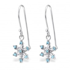 Snowflake - 925 Sterling Silver Earrings with Zirconia stones A4S24472