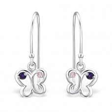 Butterfly - 925 Sterling Silver Earrings with Zirconia stones A4S26808