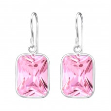 Rectangle - 925 Sterling Silver Earrings with Zirconia stones A4S27693