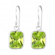 Rectangle - 925 Sterling Silver Earrings with Zirconia stones A4S27694