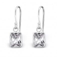 Baguette - 925 Sterling Silver Earrings with Zirconia stones A4S27698