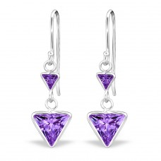 Double Triangle - 925 Sterling Silver Earrings with Zirconia stones A4S27700