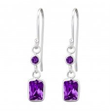 Baguette - 925 Sterling Silver Earrings with Zirconia stones A4S27701