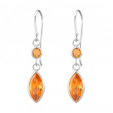 Marquise - 925 Sterling Silver Earrings with Zirconia stones A4S27702