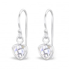 Triangle - 925 Sterling Silver Earrings with Zirconia stones A4S27914