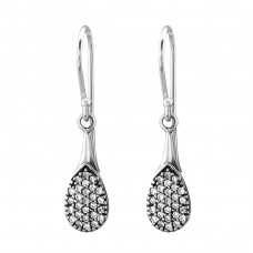 Drop Bali - 925 Sterling Silver Earrings with Zirconia stones A4S30071