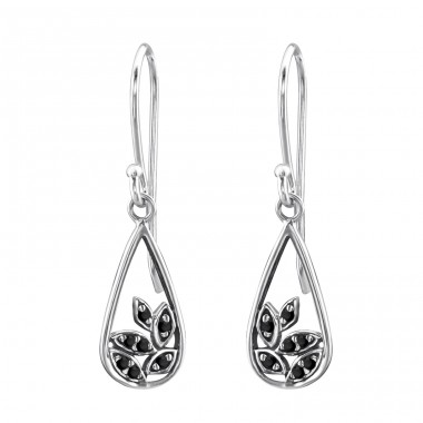 Bali Leaf - 925 Sterling Silver Earrings with Zirconia stones A4S30075