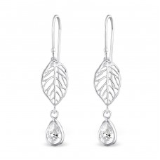 Leaf With Hanging Drop - 925 Sterling Silver Earrings with Zirconia stones A4S30322