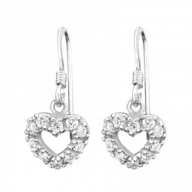 Heart - 925 Sterling Silver Earrings with Zirconia stones A4S3064
