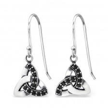 Celtic - 925 Sterling Silver Earrings with Zirconia stones A4S31246