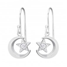Moon And Star - 925 Sterling Silver Earrings with Zirconia stones A4S33839