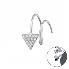 Triangle - 925 Sterling Silver Earrings with Zirconia stones A4S34324