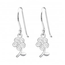 Flower - 925 Sterling Silver Earrings with Zirconia stones A4S35647