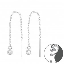Thread Through Round Earring - 925 Sterling Silver Earrings with Zirconia stones A4S35775