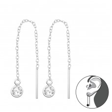 Thread Through Round Earring - 925 Sterling Silver Earrings with Zirconia stones A4S35776