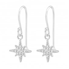 Star - 925 Sterling Silver Earrings with Zirconia stones A4S36807