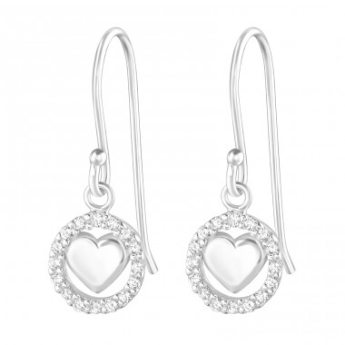 Heart - 925 Sterling Silver Earrings with Zirconia stones A4S36808