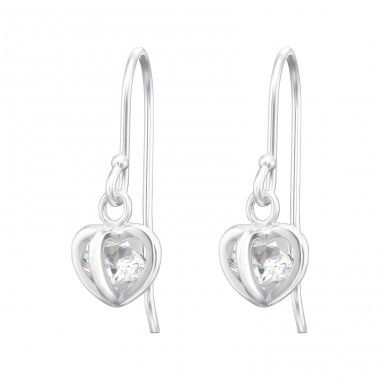 Heart - 925 Sterling Silver Earrings with Zirconia stones A4S36809