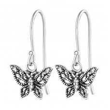 Butterfly - 925 Sterling Silver Earrings with Zirconia stones A4S36811