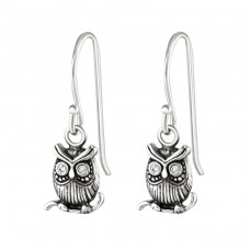 Owl - 925 Sterling Silver Earrings with Zirconia stones A4S36812