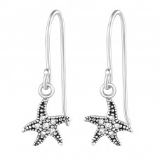 Starfish - 925 Sterling Silver Earrings with Zirconia stones A4S36813