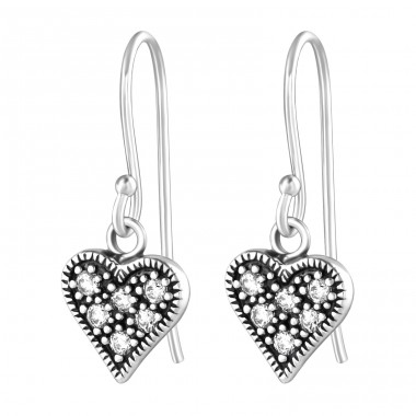 Heart - 925 Sterling Silver Earrings with Zirconia stones A4S36814