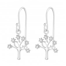 Tree - 925 Sterling Silver Earrings with Zirconia stones A4S37198