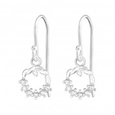 Christmas Wreath - 925 Sterling Silver Earrings with Zirconia stones A4S37199
