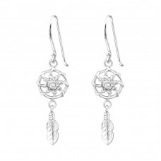 Dreamcatcher - 925 Sterling Silver Earrings with Zirconia stones A4S37200