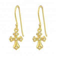 Cross - 925 Sterling Silver Earrings with Zirconia stones A4S37264