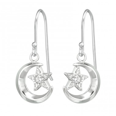 Moon & Star - 925 Sterling Silver Earrings with Zirconia stones A4S39534