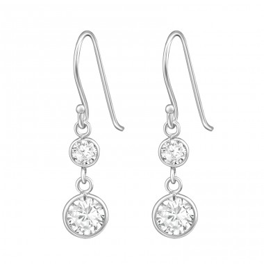 Hanging Round - 925 Sterling Silver Earrings with Zirconia stones A4S39656