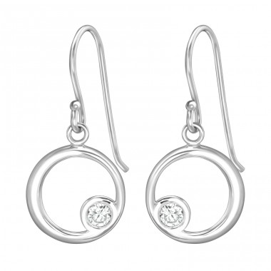 Circle - 925 Sterling Silver Earrings with Zirconia stones A4S39657