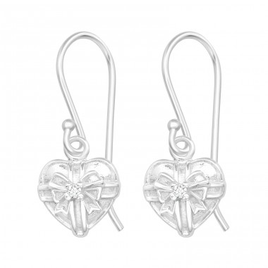 Heart - 925 Sterling Silver Earrings with Zirconia stones A4S40125