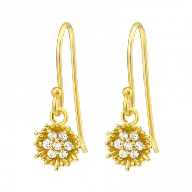 Flower - 925 Sterling Silver Earrings with Zirconia stones A4S40137