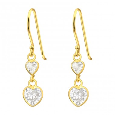 2 hanging hearts - 925 Sterling Silver Earrings With Zirconia Stones A4S42071