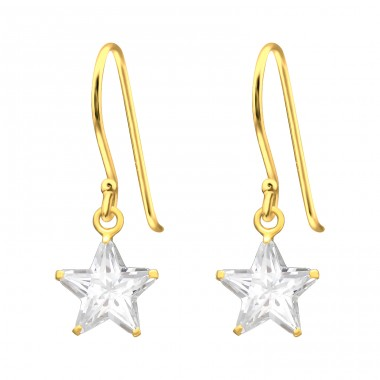 Golden Star - 925 Sterling Silver Earrings With Zirconia Stones A4S42073