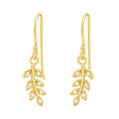 Golden zirconia Leaves - 925 Sterling Silver Earrings With Zirconia Stones A4S42075