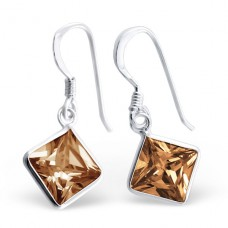 Square - 925 Sterling Silver Earrings with Zirconia stones A4S444